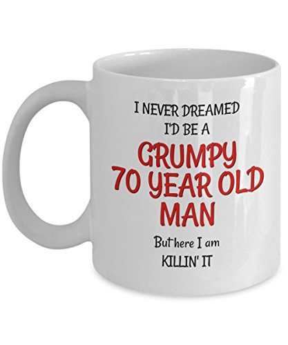 Image of the 70th Birthday Gag Gifts for Men - Funny Mugs for Him - Best Grumpy Old Man Gifts Mug for 70 Year Old Friends Dad Husband Grandpa Coworker