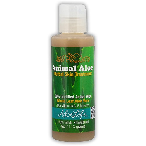 Aloe Life - Animal Aloe  Digestive Aid and Skin Treatment  Soothes Hotspots  Flea Bites and Irritation  Supports Pets Digestive Health and Overall Wellness (Unscented  4 Ounce)