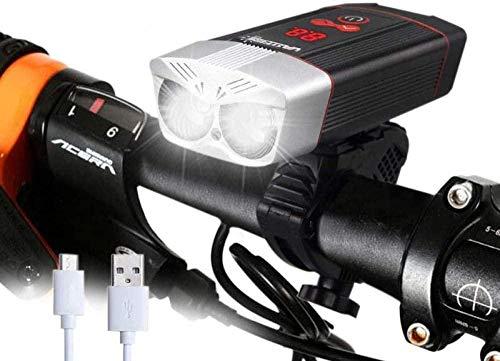 ewrwrwr Luce Bici 1200LM Luce Bici Ricaricabile USB 5 modalità Lampada Bici Lampada Bici da Strada MTB con Display a LED Intelligente-Nero