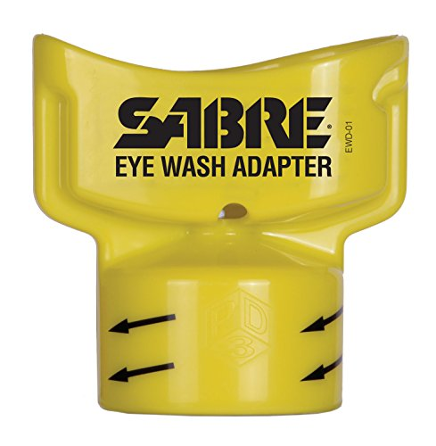 SABRE Eye Wash Adapter - Turns Water Bottle into Eye Wash Device - Flushes Contaminants from the Eye , Yellow, 2.4 oz