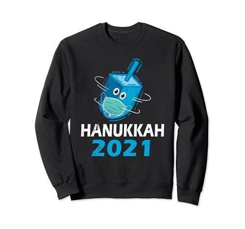 Happy Hanukkah 2021 Spin Dreidel Wearing Face Mask Chanukah Sweatshirt