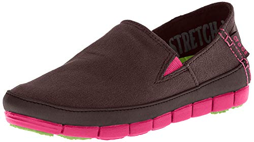 Crocs Womens Stretch Sole Slip On Loafers Brown, Pink 6