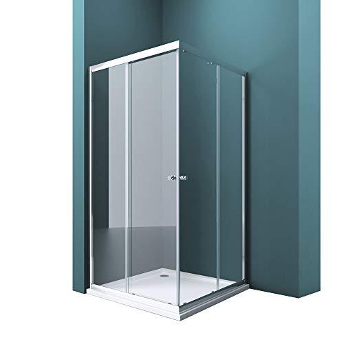 Duschwand mit Doppel-Schiebetür 75x90 cm Eckeinstieg Echtglas Lotuseffekt Duschkabine ESG-Sicherheitsglas Ravenna16k