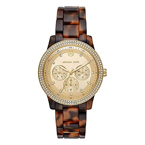 Michael Kors MK6816 Brown with Gold Dial Tortoise Acetate Tibby Women's Chronograph Watch