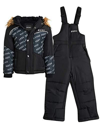 DKNY Boys 2-Piece Puffer Ski Jacket and Insulated Snowbib Snowsuit Set (Infant/Toddler), Size 24 Months, Black Print