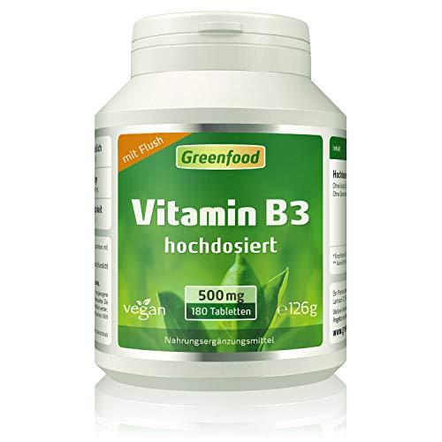 Greenfood Vitamin B3 Niacin (mit Flush!), 500 mg, hochdosiert, 180 Tabletten, vegan – das Glücks-Vitamin, fördert die Durchblutung. OHNE künstliche Zusätze. Ohne Gentechnik.