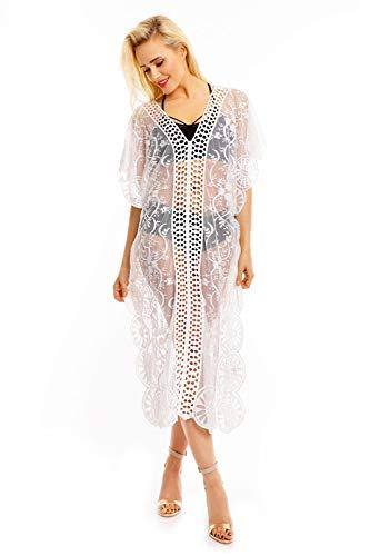 Mayaadi Dammen Sommer Tunika Strand Ibiza Kleid Spitze Mozaik Bluse Strandkleid DX8070 Einheitsgröße