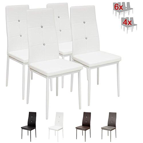 Albatros 3095 Diamond Set de 4 sillas de Comedor, Blanco, SGS Tested
