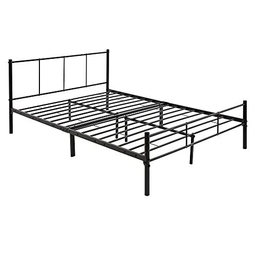 ML-Design Metallbett 140x200 cm auf Stahlrahmen mit Kopfteil und Lattenrost, Schwarz, robuste Bettgestell, leichte Montage, Bett für Schlafzimmer, Erwachsene, Doppelbett Ehebett Jugendbett Gästebett