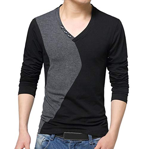 ALIKEEY Hombres De Pie Collar De Manga Larga Camiseta Camiseta Pura Blusa Top