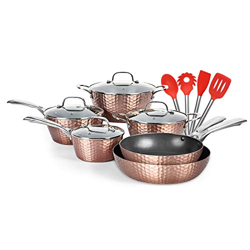 LovoIn 14 pcs Cookwares Pots and Pans Set Has a nonstick durable and AntiScalding Surface New Version of Hammer Fryer induction Dishwasher/Oven/Stovetop