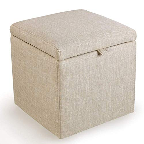 Beautiful happy Stühle Fußhocker Hocker Aufbewahrungsbox Cube Pouf Stuhl Hocker quadratisch Ottomane mit Deckel und Leinenbezug Sitz für Flur (Farbe: Beige)