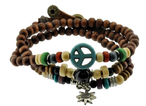 Mandala Crafts Peace Symbol Wood Beads Wrap Bracelet/Zen Bracelet/Multi-Layer Wristband/Surf Bracelet #329