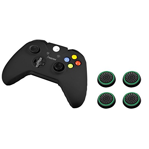 Insten Soft Silicone Anti-Slip Protective Skin Case Cover (Black) + [2 Pair / 4 Pcs] Silicone Analog Thumb Grip Stick Cover Cap (Black/Green) Compatible with Microsoft XboxOne Game Controller
