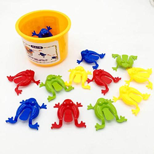 Deeabo 12 Piezas De Juguete De Juego De Ranas Saltarinas, Coloridos Juguetes De Salto con Cubo Juego Interactivo Juguete Educativo Fiesta Favor Cumpleaños Fiesta Juguetes Acción Juguete Figura