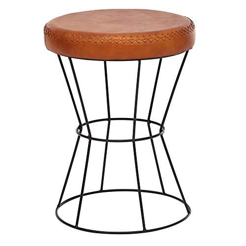 FineBuy Sitzhocker Echtleder/Metall 35 x 48 x 35 cm Design Hocker Rund | Dekohocker mit Leder-Bezug | Moderner Lederhocker Braun Gepolstert