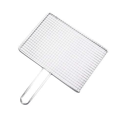 CRSD Filet de Barbecue, carré en Acier Inoxydable Portable, Pliable réutilisable, avec poignée grillagée, pour Pique-Nique en Plein air