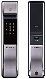 Kaadas K7-5 Push-Pull Keyless Smart Lock,Touch Pad, FP+Password+RFID+Key, Automatic Mortise (Silver)