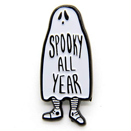 Ectogasm Spooky All Year Ghost Enamel Pin in Black and White Halloween Fashion Accessory Unisex
