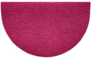 Nicoman Embossed Halfmoon Half Circle Door Mat Dirt-Trapper Jet-Washable Doormat 70x44cm (Pink, Plain) - Use Indoor or She...