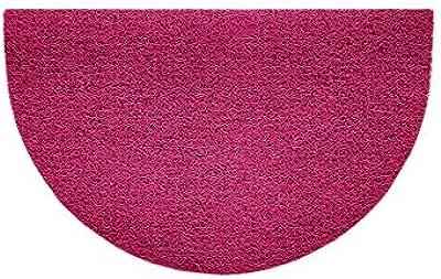 Nicoman Embossed Halfmoon Half Circle Door Mat Dirt-Trapper Jet-Washable Doormat 70x44cm (Pink, Plain) - Use Indoor or Sheltered Outdoor