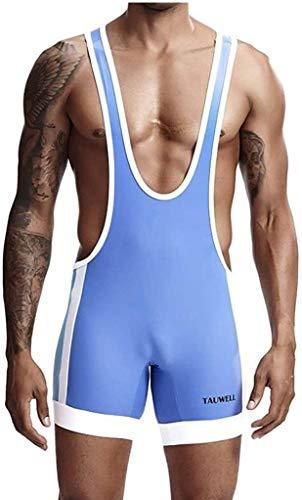 Men's sexy ondergoed Body Shaper Sweat Hemd Vest Wrestling Singlet Bodysuit (Color : Sky Blue, Size : L)