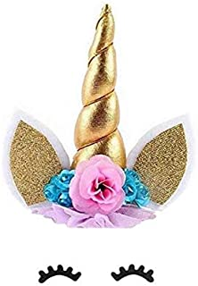 3pcs/Set Unicorn Cake Decorations Unicorn Gold Handmade Horns Ears Cake Cupcake Toppers Dessert Table Party Decoration Supplies for baby shower wedding and birthday party