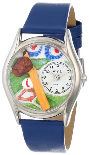 Drollige Uhren Baseball Royal Blau Leder Silvertone Unisex Quartz-Uhr mit weißem Zifferblatt Analog-Anzeige und S-0820004 Mehrfarbige Lederband