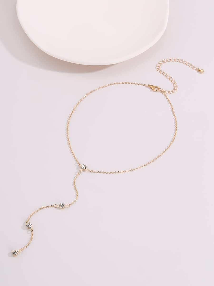 AXJTNL Necklace Pendant Rhinestone Charm Lariat Necklace (Color : Gold)