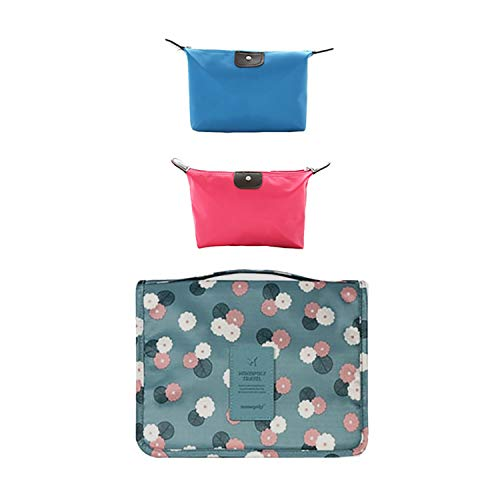 Flamingo - Neceser de viaje para mujer, neceser de cosméticos, neceser de cosméticos (dos bolsas de cosméticos gratis)