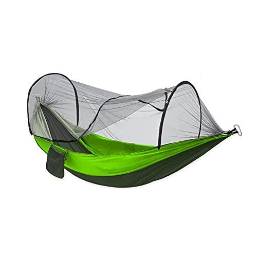 Xygm Hamaca automática de apertura rápida con mosquitero, tela de nailon individual y doble para acampar con mosquitero, hamaca a prueba de mosquitos