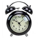 LTLJX Mini Alarma Metal y Vidrio Relojes de Alarma silenciosa de Noche batería for niños del Dormitorio de Viaje Oficinas de Relojes de Alarma (Color: Rosa, Tamaño: 9X6.5X11cm) LUDEQUAN
