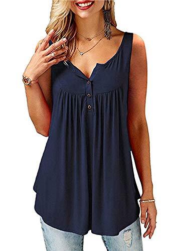 AMORETU T-Shirt Damen V-Ausschnitt Knopfleiste Bluse Solide Tunika Sommer Tops , Tanktop-blau, S/DE 38-40