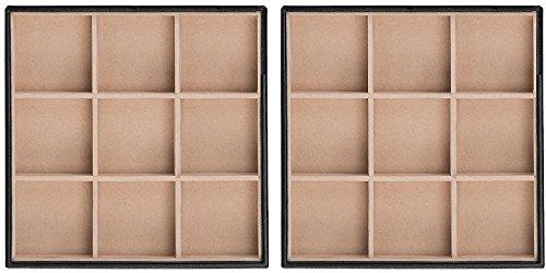 Glenor Co Bandeja organizadora de joyería – 2 bandejas apilables – 18 ranuras caja de almacenamiento para cajón o vestidor – negro