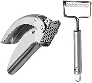 Kuhn Rikon Julienne Peeler with Blade Protector, Stainless Steel Handle and Stainless Steel Epicurean Garlic Press Set of One Each