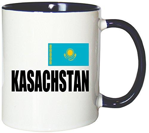 Mister Merchandise Kaffeetasse Kasachstan Fahne Flag Teetasse Becher, Farbe: Weiß-Blau