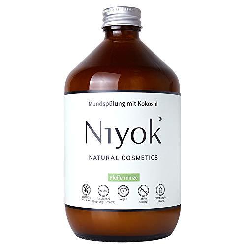 Niyok® Mundspülung mit Kokosöl ohne Fluorid und Mikroplastik Plastik | Bio Naturkosmetik Sensitiv auch für Kinder | Xylit Herbal | natürliche Mundspülung VEGAN | Pfefferminze (500ml)