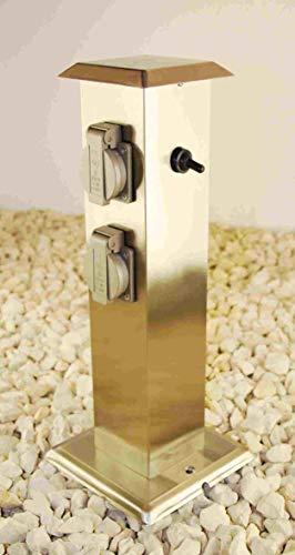 Steckdosensäule 4-fach Aussensteckdosen Energiesäule Energieverteiler Gartensteckdose mit Schalter