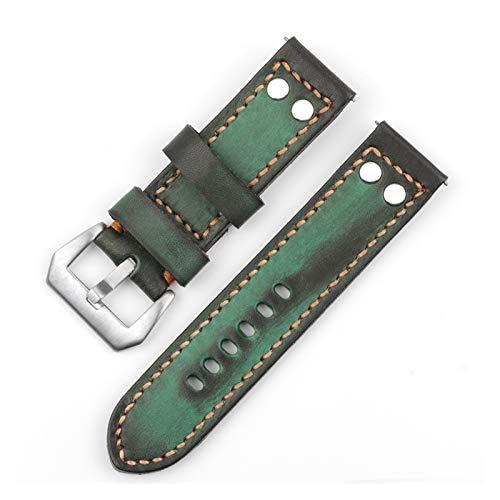 YUSWPX Cuero Genuino Vintage Reloj de Reloj de 24 mm Remaches Verde...