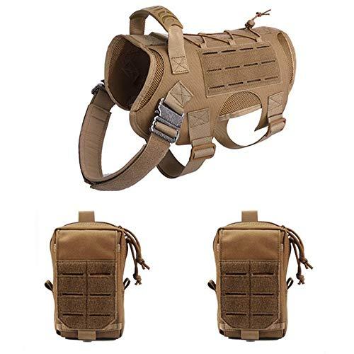 JHKGY Dog Tactical Vest Set,Militärisches Hundegeschirr Taktisches Hundegeschirr,Verstellbare No-Pull Hundegeschirr Service Hundeweste,Patrol K9 Hundegeschirr Mit Griff,Braun,L