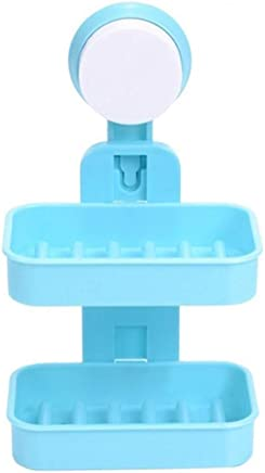 Soap Holder,Soap Dish-Double Layer-Strong Suction Cup -Wall Tray Holder-Soap Storage Box for Bathroom Shower Tool(Random Color)