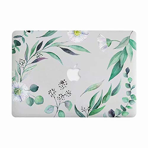 MacBook Air 13 Case, AQYLQ Super Thin Rubberized Coated Laptop Cover Shell Protective for Apple 13 inch MacBook Air 13.3' Model A1466 / A1369, LH-34 green leaf
