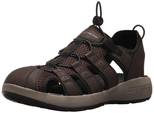 Skechers 51834', Sandalias de Punta Descubierta Hombre, Marrón (Brown Leather/Mesh/Black Trim), 45 EU