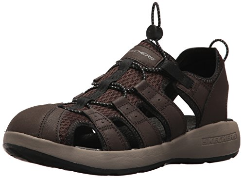 Skechers Men 51834 Open Toe Sandals, Brown (Brown Leather/Mesh/Black Trim), 9.5 UK (44 EU)