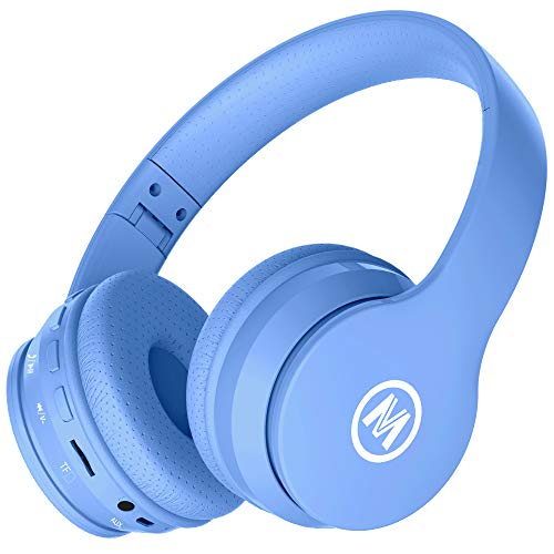 Mokata Volume Limited 85dB Kids Headphone Bluetooth Wireless Over Ear Foldable Stereo Sound Noise Protection Headset with AUX 3.5mm Cord Microphone for Boys Girls Toddler Cellphone Pad TV Blue