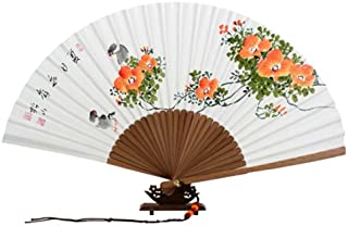 Hand Painted Folding Orange Flower and Bird Painting White Paper Bamboo Asian Oriental Wall Deco Korean Handheld Decorative Fan