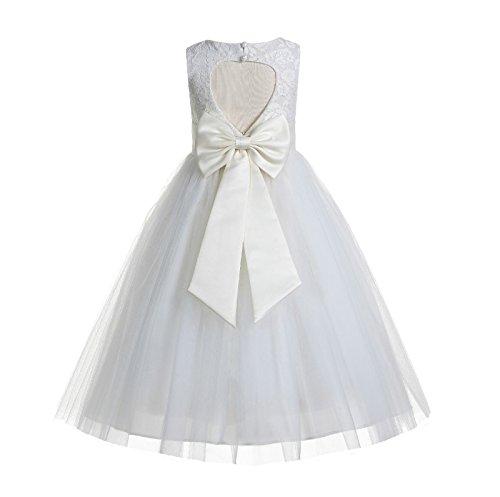 ekidsbridal Floral Lace Heart Cutout Ivory Flower Girl Dresses First Communion Dresses Baptism Dress 172T 6