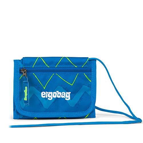 Ergobag Brustbeutel LiBäro 2:0, Kleingeldfach, Sichtfenster, Schlüsselring, Zickzack Blau Grün