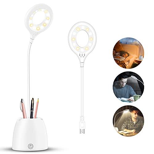 Lámpara Escritorio LED, Flexo LED escritorio 3Niveles de Brillo Panel Táctil Luz Flexo de Escritorio, Flexo de Escritorio de Cuidado Ocular Recargable USB Luz Lectura Lámpara para Estudiar
