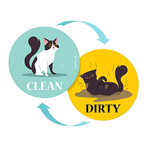 Large Dishwasher Magnet Clean Dirty Sign - Funny Emoji Magnets - Large, Strong, Cool Magnetic Gadgets for Kitchen Organization and Storage - Strong Double Sided Indicator (Cartoon Cat)